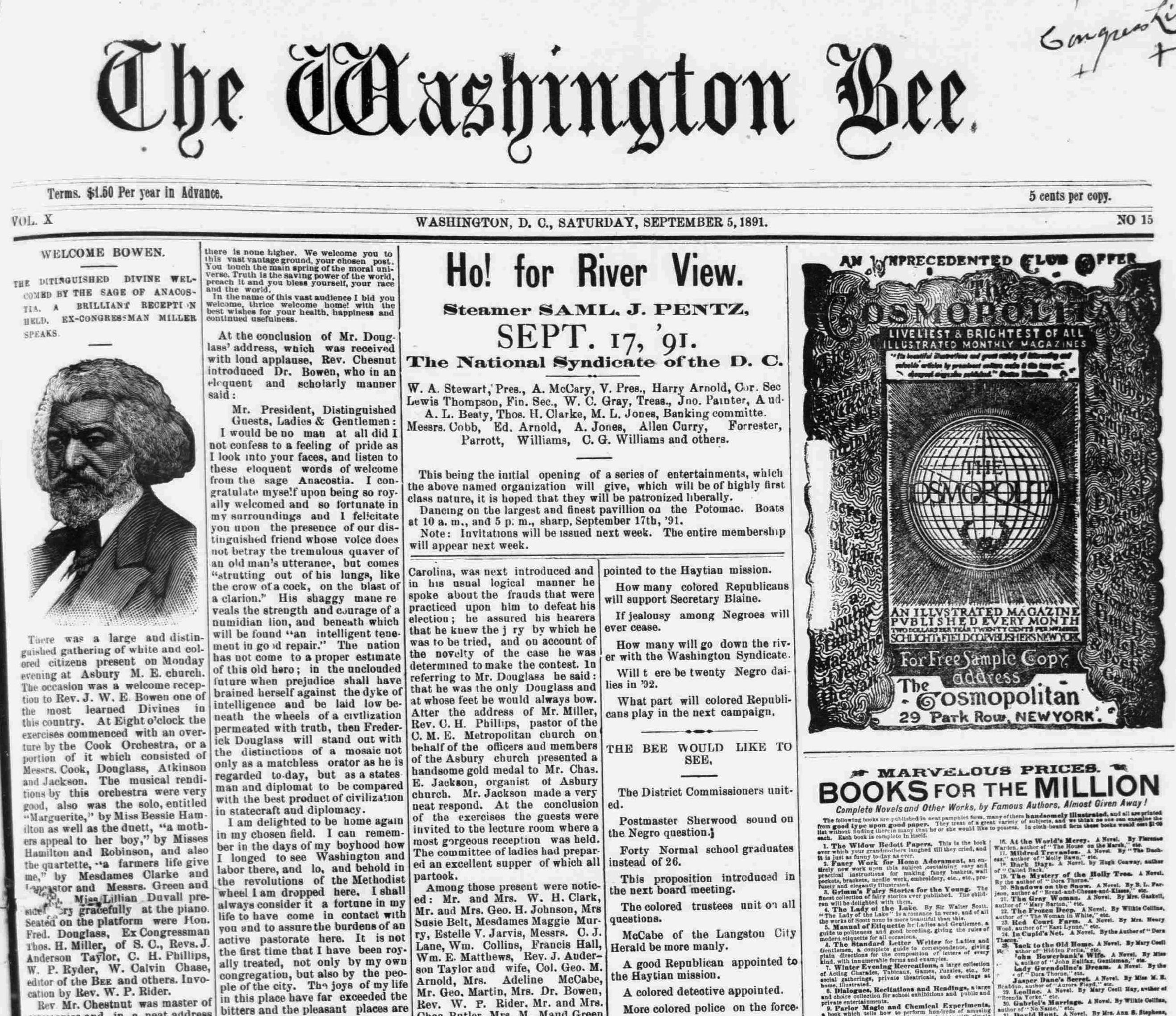 "Brief bio on ""The Washington Bee"" from Library of Congress"