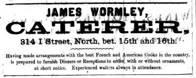 1866_ad for 'James Wormely, Caterer
