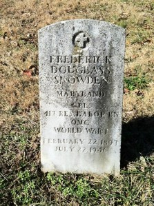 Frederick Douglass Snowden headstone at Mt. Zion cemetery - Brookeville, Md