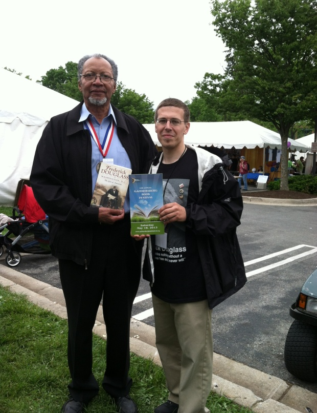 Walter Dean Myers John Muller at the 2013 Gaithersburg Book Festival. Photo by Gordon Yu.