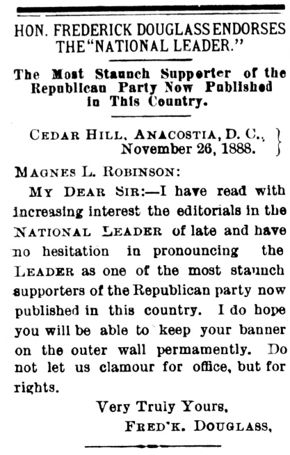 National Leader, 19 Jan 1889 _ FD endorses National Leader