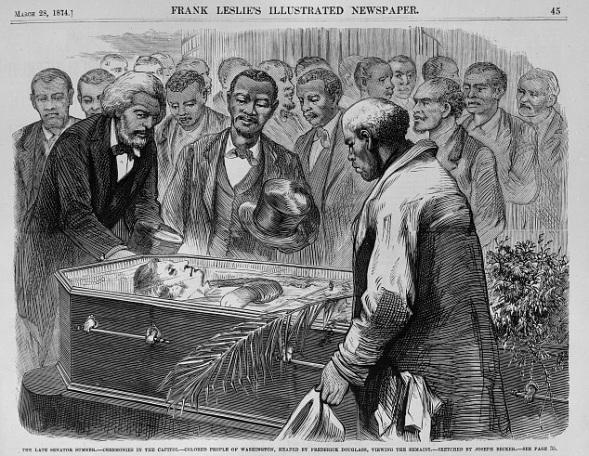 Frank Leslie's _ 28 March, 1874 __ FD escorting Sen. C. Sumner to lay in Capitol Rotunda