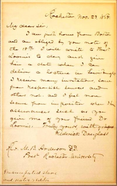 Autograph letter signed Frederick Douglass to_ Rev. M.B. Anderson-page-002