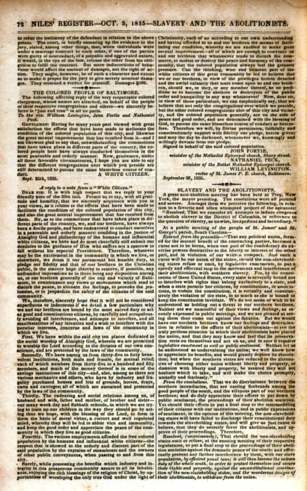 Niles_Weekly_Register _ Oct. 3, 1835_Slavery and the Aboltionists_p. 72