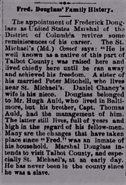 The Comet (St. Michaels) _ Douglass Family History, reprint from Jasper Weekly (IND) 4.17.1877-page-001