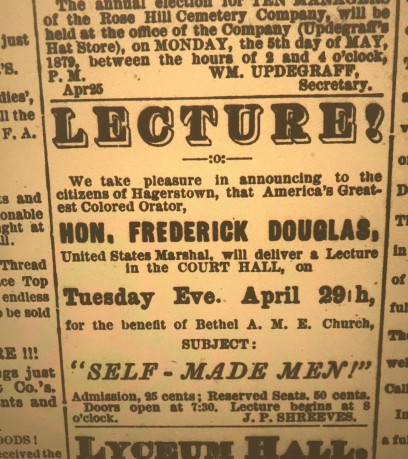 FD Lecture _ Hagerstown _ Daily News _ April 27, 1879