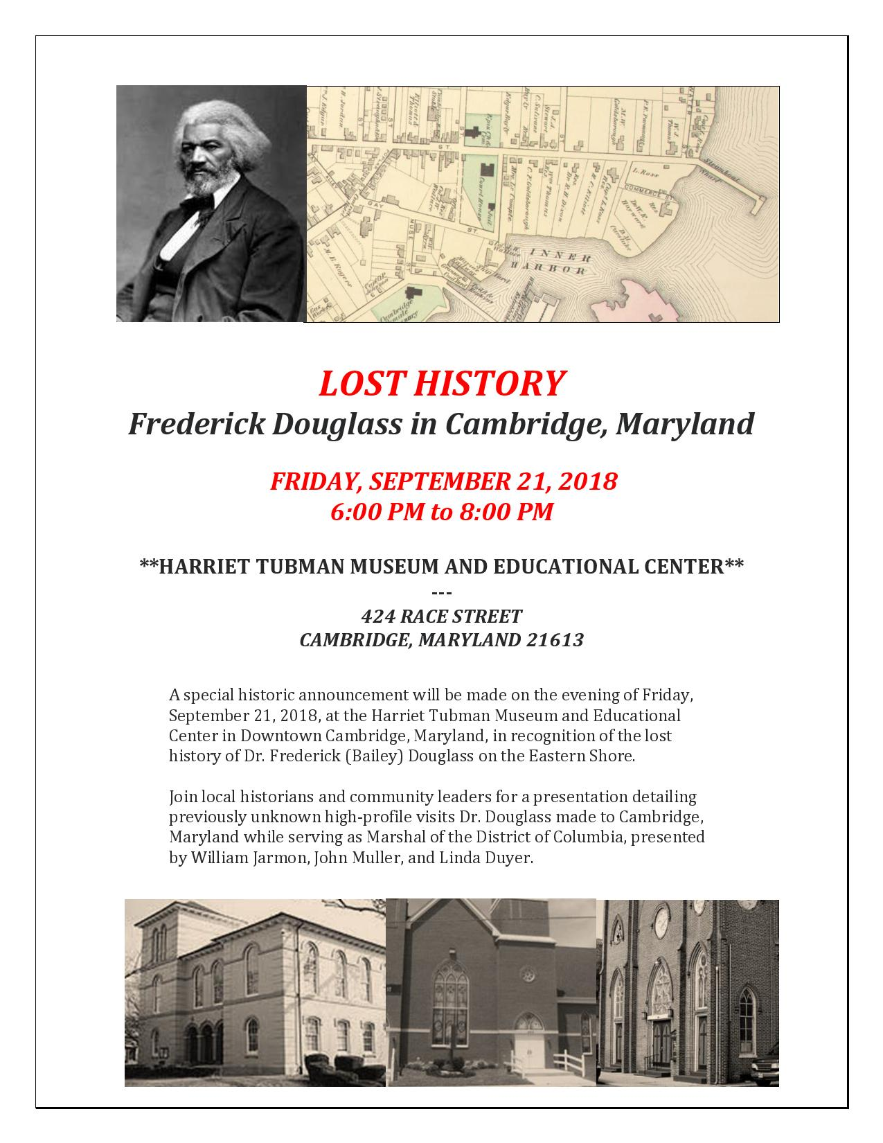 FLYER _ Lost History _ Frederick Douglass in Cambridge _ HT Museum _ 2018 09 21 Flyer [LD ^0 JM]-page-001