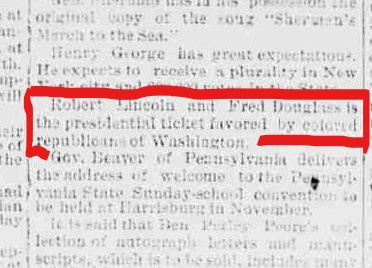 InkedBurlington weekly free press., September 30, 1887, p. 2 __ Douglass and Lincoln ticket_ cropped _ red ink