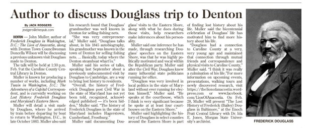 Star Democrat _ 2.7.2019 _ Douglass visited Denton _ A5-page-001