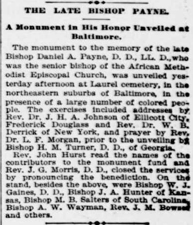 Evening Star _ 22 May 1894. p 9 - Payne Monument in Baltimore_ crop