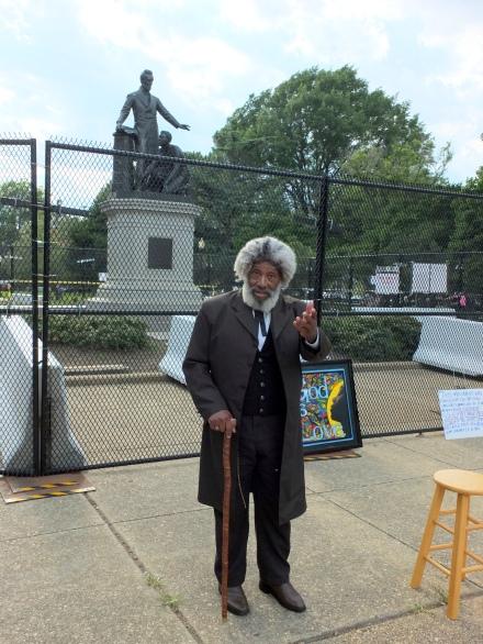 Nathan M. Richardson as Hon. Frederick Douglass in Lincoln Park, June 26, 2020. Photo Bruce Guthrie.